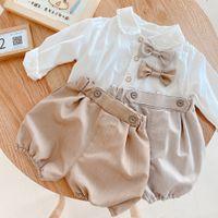 Baby Boys Summer Ropa Conjuntos Niños Niños Bow Pie Lapel Manga larga Camisetas + Pantalones cortos 2pcs Ropa de algodón para niños A6790