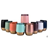 13oz Egg Cup Mug Stainless Steel Wine Tumbler Double Wall Eggs Shape Cups Tumblers With Lid Insulated Rose Gold Thermos Coffee Beer Mugs YFA2965