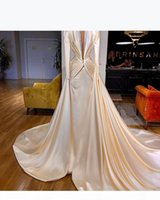 2018 Blush Pink Long Sleeves Prom Dresses Mermaid Deep V Neck Gold Applique Sweep Train Evening Gowns Prom Formal Dresses vestidos de fiesta