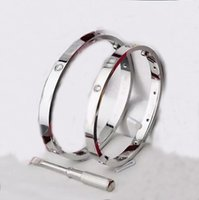 2021 ouro branco ouro e rosa ouro pulseira de pulseira de aço inoxidável com chave de fenda e 4 pedra com conjunto de caixa