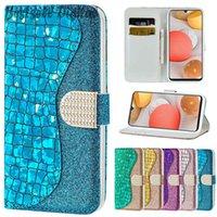 Fashion Laser Powder Flip Case For Samsung Galaxy S6 S7 S8 S9 S10 E S20 FE S21 Note 10 20 Plus Ultra 5G Card Slot Wallet Leather Cover