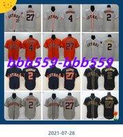 Männer Baseball 27 Jose Altuve Jersey 4 George Springer 2 Alex Bregman Flexbase coole Basis genäht Marineblau orange weiß grau schwarz