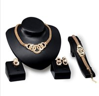Bracelets Necklaces Earrings Rings Sets Women Fashion Rhinestone Plated Alloy Circles Party Jewelry Set ps1611