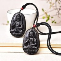 Decorative Objects & Figurines 1PC Natural Black Obsidian Carved Buddha Pendant Lucky Amulet Energy Stone Beads Necklace Fashion Jewelry Gif
