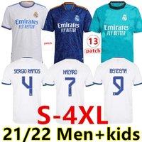 Boyutu: S-4XL Gerçek Madrid 21 22 Futbol Formaları Futbol Gömlek Camavinga Alaba Tehlike Benzema Modric ASensio Vini JR Balya Camiseta Erkekler + Çocuk Kiti Hayranları + Oyuncu Üniformaları