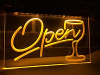 LB536- Skript Open Glass Cocktails Bar LED Neonlichtschild Home Decor Crafts