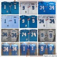 NCAA 축구 레트로 빈티지 9 Steve McNair Jersey Sewn 34 Earl Campbell 1 Warren Moon 74 Bruce Matthews Jerseys Man Blue White