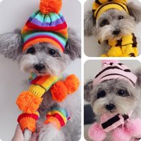 Winter Pet Puppy Accessories For Dogs Colourful Knitted Striped Hats Scarf Socks Small Big Animals Dog Cat Products ZH839 Apparel