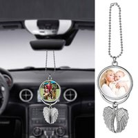Big Wings Christmas Decorations Sublimation Blanks Necklaces Pendants Car Rearview Mirror Hanging Charm Ornaments