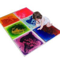 Art3d 6-Tile Sensory Room Tile Multicolor Ejercicio Mat Liquid Encased Floor Playmat Kids Play Play Mats antideslizantes, 16 pies cuadrados (50x50cm)
