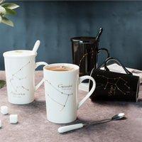 세라믹 머그잔 12 별자리 크리 에이 티브 유리 숟가락 뚜껑 검은 색과 금색 도자기 조디악 우유 커피 컵 drinkware