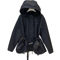 Prada coat Damen Designerjacke mit Kapuze Mode Masselfarbe Windjacke Jacken Casual Damenjacke Mantel Kleidung Größe S-L