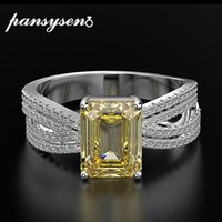 Cluster Rings PANSYSEN Luxury Emerald Cut 7*9mm Created Moissanite Citrine For Womne Solid 925 Sterling Silver Wedding Fine Jewelry Ring