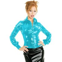 Colors Fashion Button Short Blouse Lady Wetlook PVC Long Sleeve Tops Sexy Turn-down Collar Jacket Novelty Tight Fitting Shirt Women's Jacket