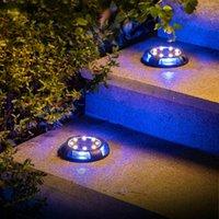 Lampes solaires 8 paquets lumières soles 12 LED étanche Éclairage intérieure pour jardin, pelouse, sentier, passerelle, pont, jardin (blanc chaud + bleu)