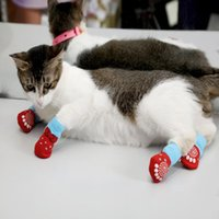 4pcs Set Cute Puppy Dog Knit Socks Small Dogs Cotton Anti-Slip Cat Shoes For Autumn Winter Indoor Wear Slip On Protector Apparel