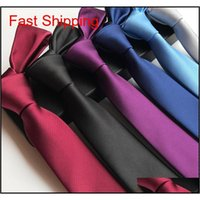 Conjunto de corbata de cuello venta de moda Silida clásico flaco 6 cm hombres corbatas ropa casual ropa de bodas fiesta sólido para mywbg smwo smwo