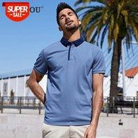 2021 homens camisas de polo mangas curtas de moda azul personalidade lapela poloshirts verão homens slim top plus tamanho zt-3382 # ss59