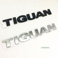 Noir / Argent Tiguan voiture arrière-pare-chocs de voiture de voiture de carrefour de voiture autocollants autocollants badge Emblem décalques anglais alphabet logo accessoires auto