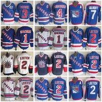 New York Rangers Vintage Clássico Hóquei 2 Brian Leetch Jersey 75th Anniversary 1 Eddie Giacomin 3 James Patrick 4 Ron Greschner Rod Gilbert