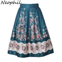 Neophil 2020 Boho Ethnic Flower Floral Print High Waist Pleated Midi Ball Gown Skirts Womens Black 50s Vintage Tutu Saias S0903 J0118