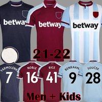 21 22 غرب لكرة القدم الفانيلة Lingard 2021 2022 الأرز لحم الخنزير أطقم Lanzini Antonio Noble United Shirts Men Kids Equipment