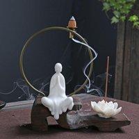 الإبداعية النمط الصيني السيراميك البخور الموقد اللوتس بوذا بوذا راجع الدخان حامل عصا قاعدة الرئيسية المقهى الديكور مصابيح العطر