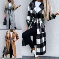 Women's Trench Coats Coat Solid Color Grid Turn-down Collar Tight Waist Long Woolen Jacket For Autumn Winter Sleeve Sexy Manteau