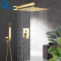 Robinets de douche de salle de bains d'or Set 3-Mathématiques Système de pluie murale 8 10 12 '' Tête de douche Tête de douche Spout Mélangeur froid Tap T200612