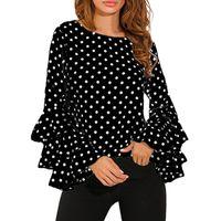 Women's Blouses & Shirts Fashion Bell Sleeve Loose Polka Do Shirt Ladies Casual Tops Femininas Woman Dress Ropa De Mujer #srn