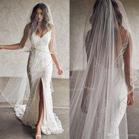 Neueste böhmische Meerjungfrau Brautkleider Spitze Appliques Perlen Front Split Brautkleider Backless Beach Hochzeitskleid mit passenden Schleier
