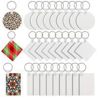 المزيد من الأساليب التسامي فارغة سلسلة المفاتيح mdf مفتاح خشبي قلادة الحرارية نقل واحدة كيرينغ بيضاء diy هدية الحلي