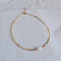 Chokers Coney Ожерелья Одиночное жемчужное Ожерелье из бисера Золотая Радуга Колье для взрослых для мамы