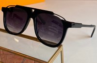 Black Black Atteggiamento Pilota Occhiali da sole 0937 Oro Nero / Grigio Lettere stampate Lettere Occhiali vintage Vintage Uomo Moda Sunglasses UV400 Eyewear di protezione con scatola