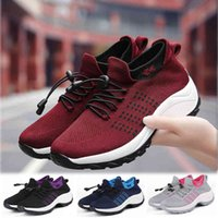 Tennis shoes Women Shoes 5cm High Heels Sports Breathable Mesh Slip on Female Sock Footwear Outdoor Thick Bottom Sneakers 0911