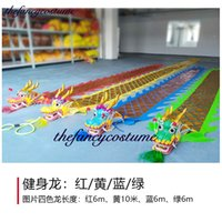 12m Chinese Dragon Caartoon mascot Costume Outdoor golden plated handmade Sports Square Ribbon Halloween Party Carnival Funny Toys Group Activities Prop New year