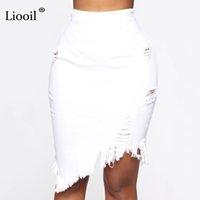 Liooil Asimetrik Delik Denim Midi ile Püskül Streetwear Yüksek Bel Yıkama Kadınlar Için Bodycon Yırtık Kot Etek