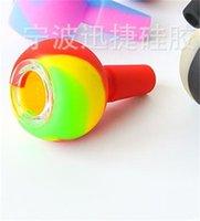 Silicone Slide Bowl Piece con vetro Sreen per tubi dell'acqua Bangs Bangs 14mm Pezzi congiunti maschili Erba Tabacco Ash Catcher DAB Rigs 391 S2