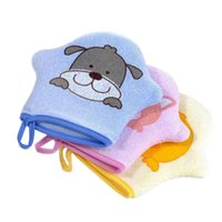 Wash Gloves Cotton Baby Bath Shower Brush Cartoon Super Soft Cute Animal Modeling Sponge Powder Rubbing Towel Ball for Children 3 Color