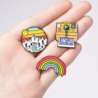 Rainbow Mountain Cute Small Funny Enamel Brooches Pins for Women Demin Shirt Decor Brooch Pin Metal Kawaii Badge Fashion Jewelry 1126 T2