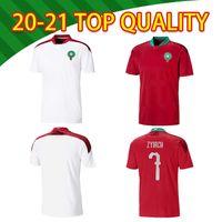 2021 المغرب المنتخب الوطني حكيمي Ziyech قمصان كرة القدم Saiss El-Arabi Fajr Munir En-Nesyri منزل Away