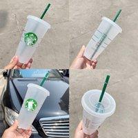 2021 Starbucks Becher 24Oz / 710ml Umwelt Engelsgöttin Kunststoff Tassen Recycelbares tragbares hitzebeständiges Trinkhalm Einzelgetränk