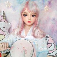 Festa máscaras (chan-01) feminino menina doce resina meia cabeça kigurumi bjd máscara cosplay japonês anime função lolita crossdress boneca