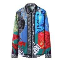 Mens manga comprida vestido camisa de smoking camisa de luxo de luxo camisa royal barroco cópia floral camisa masculina festa de camisa formal masculino 210323