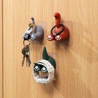 Krokar skenor krok djur svans kreativ roligt nyckel paraply kläder starkt badrum viskos hängare vägg 3pcs