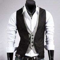 Men's Vests Men Formal Waistcoat Vest Business Solid Color Single Button Gilet Fake Two-pieces V Neck Casual Slim Chalecos Para Hombre