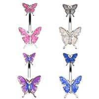 14G Belly Button Rings for Women Girls 316L Stainless Steel Butterfly Navel Ring Body Piercing Jewelry