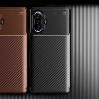 날씬한 탄소 섬유 백폰 케이스 Xiaomi Poco F3 M3 11 Lite Ultra Blackshark 4 Redmi K40에 대한 4 노트 10 Pro 10S Plus Soft Found Cover