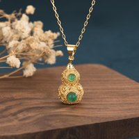 Pendant Necklaces 2021 Chinese Style Light Luxury Retro Court Design Antique Gold Gourd Inlaid Classic Temperament Women's Necklace Jewelry