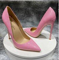 venda por atacado designers de marca bombas mulheres sapatos de salto alto sapatos pontilhados dedos rosa branco festa de casamento listrado couro de patente 8 cm 10 cm 12 cm fundo vermelho grande tamanho euro34-45 preto